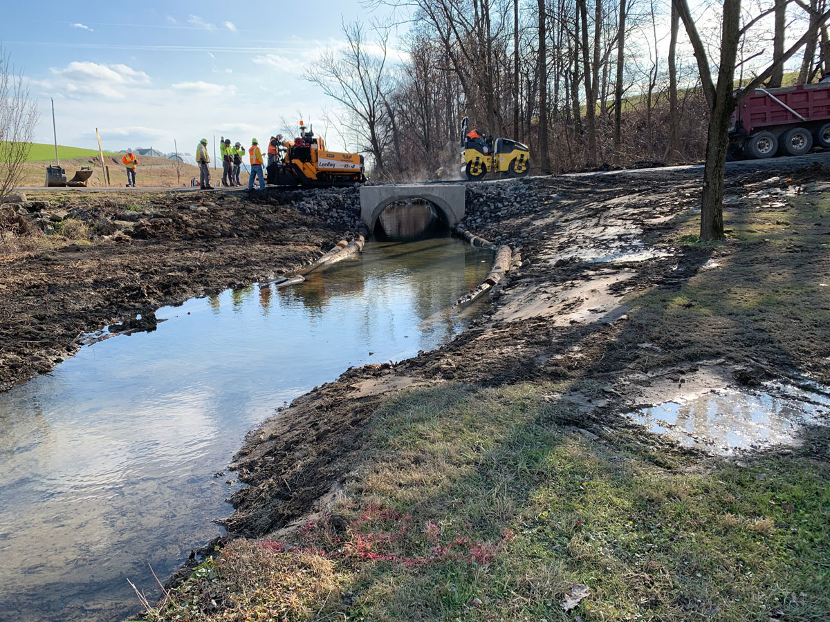 CMS recently completed a project on School Road in Richland Township which involved replacing an obsolete drain pipe to correct stormwater management issues and repaving School Road.