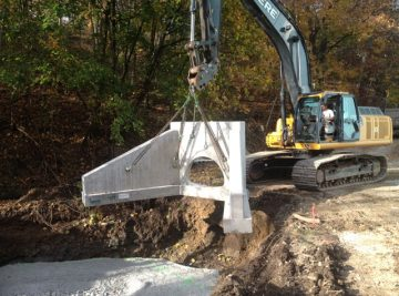 """CMS completed the installation of a 58"""" storm drain with two 30k lb. precast head and end walls at Columbia WTP Lockards Hollow"""
