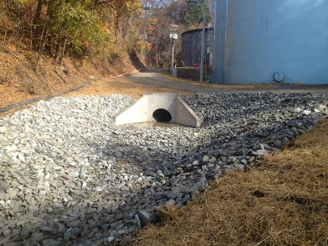"CMS successfully completed the installation of a 58"" storm drain with two 30k lb. precast head and end walls at Columbia WTP Lockards Hollow"