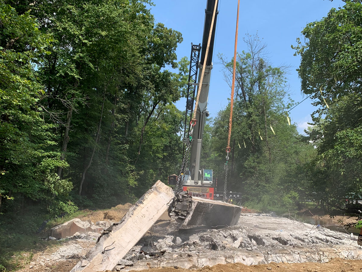 Swamp Creek Bridge replacement and road paving by CMS in 2019